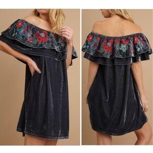 Dresses & Skirts - Velvet Off The Shoulder Dress